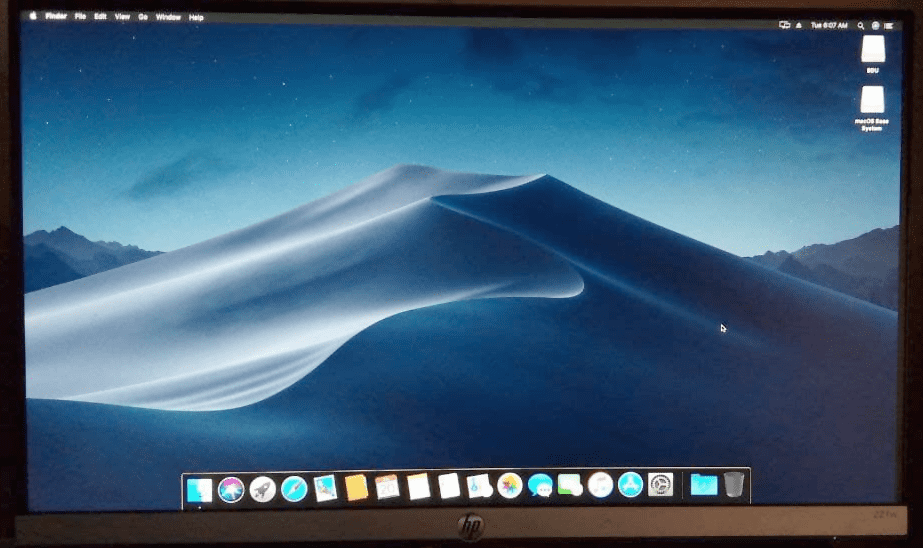 Completed the macos installation process on a pc